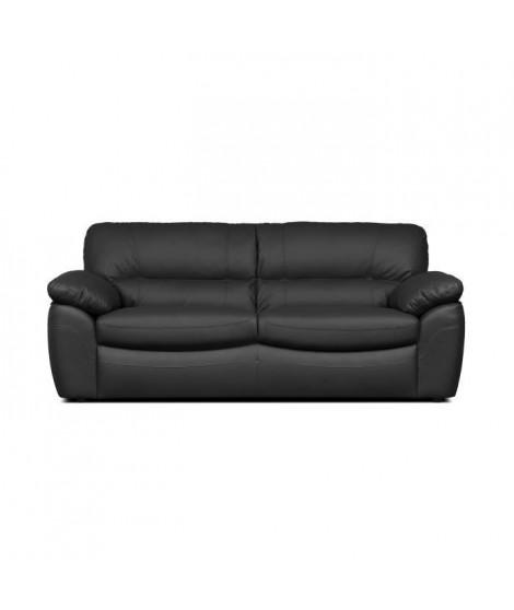 ELVIS Canapé droit fixe 2 places - Cuir de vachette et Simili PU noir - Contemporain - L 205 x P 97 x H 84 cm