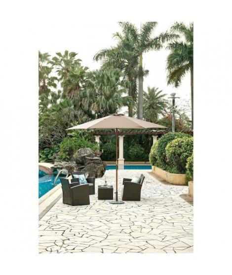 Parasol en bois rond et polyester 160g/m² - Arc 3 m - Beige taupe