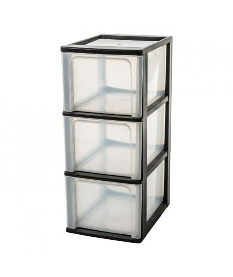 IRIS OHYAMA Tour de rangement 3 tiroirs - Plastique -  Noir - 39L - 35,5 x 26 x 60,5 cm
