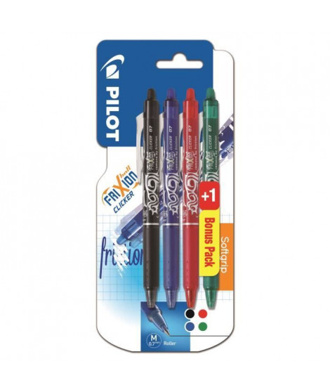 PILOT - Rollers effacables - Frixion Ball Clicker X3 +1 - Pointe Moyenne - Encre : noire, bleue, rouge, vert