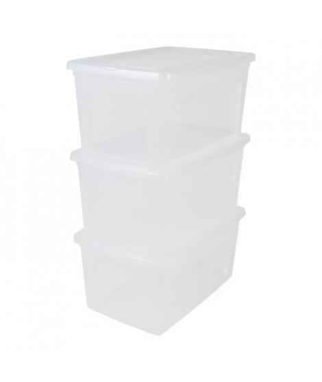 IRIS OHYAMA  Lot de 3 boîtes de rangement avec couvercle - Transparent - 50L - 59,5 x 39,5 x 20 cm