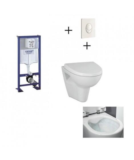 GROHE Pack WC suspendu complet avec plaque blanche et cuvette sans bride Velvet