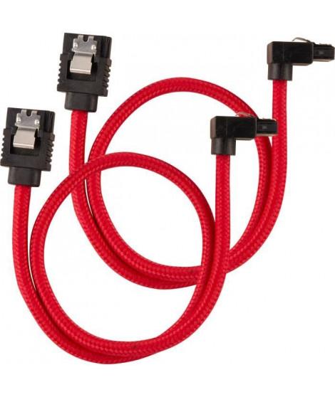 CORSAIR Câble gainé Premium SATA 6Gbps Rouge 30cm 90° - (CC-8900280)