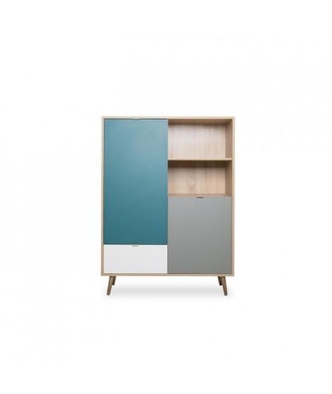 CUBA Buffet haut décor chene sonoma et blanc  - Style scandinave - L 103 x P 40 x H 139  cm
