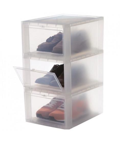 IRIS OHYAMA Lot de 3 boîtes de rangement pour chaussures Drop Front Box EUDF-M - Plastique - 14 L - 35,5 x 28 x 18 cm - Trans…