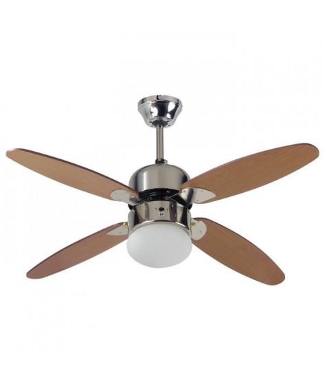 FARELEK - SRI LANKA Ø 107 cm - Ventilateur de plafond réversible, 4 pales couleur chene lasuré + éclairage 1 globe 60W E27 - …
