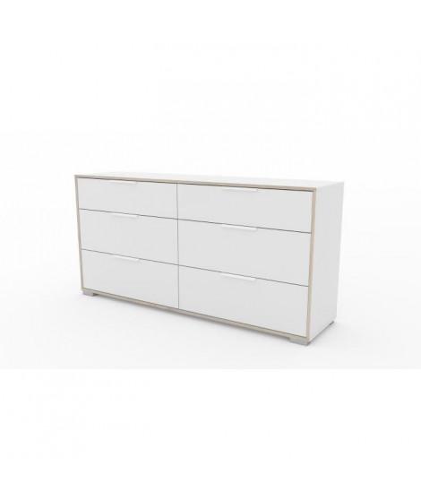 LIGNE Double commode 6 tiroirs - Décor chene et blanc - L 155,6 x P 39,1 x H 76,3 cm