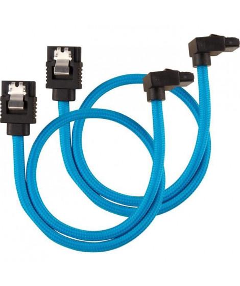 CORSAIR Câble gainé Premium SATA 6Gbps Bleu 30cm 90° - (CC-8900281)