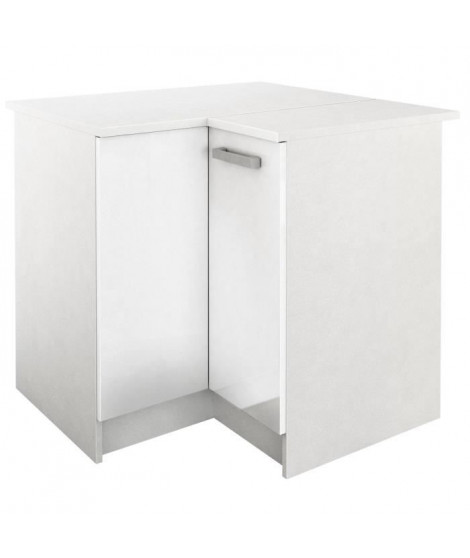 START Meuble de cuisine bas d'angle avec plan de travail L 88 x P 88 cm - Blanc brillant
