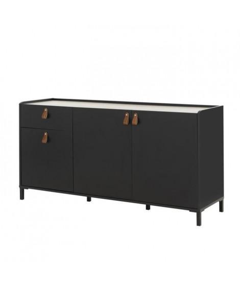 ROTTERDAM Enfilade 3 portes 1 tiroir - Décor chataigner et noir - L 160 x P 46 x H 80 cm