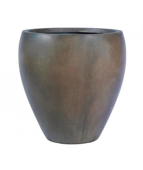 Pot rond bombé lisse - 28,5 x 28,5 x 30 cm - Marron glace