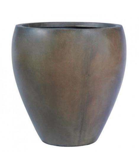 Pot rond bombé lisse - 40 x 40 x 41 cm - Marron glace