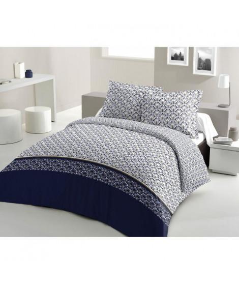 LOVELY HOME Parure de couette Coton RAINBOW - Bleu marine - 240x260 cm