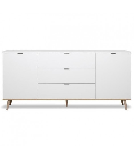 GÖTEBORG Buffet bas - Style scandinave - Décor chene et blanc - L 180 cm