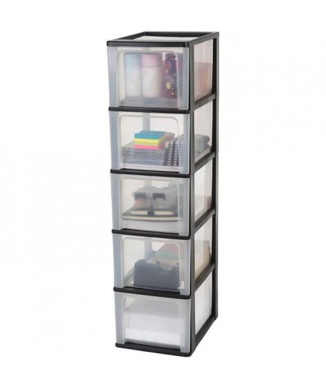 IRIS OHYAMA Tour de rangement 5 tiroirs - Plastique - Noir - 65 L - 35,5 x 26 x 99,5 cm