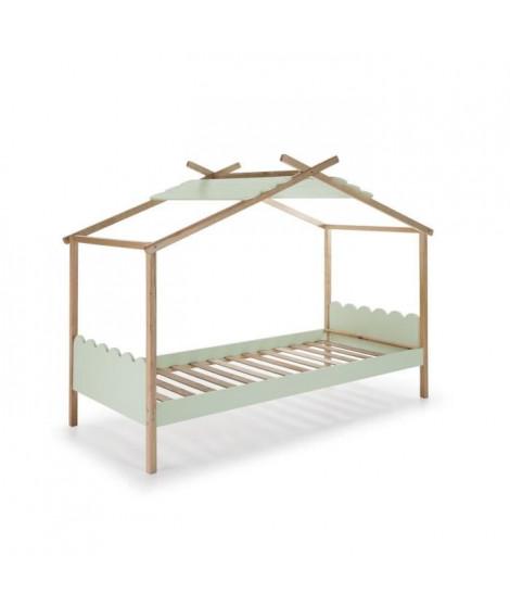 NUVEM Lit cabane enfant en bois pin massif et MDF laqué - Décor naturel et Vert - l90 x L190 cm