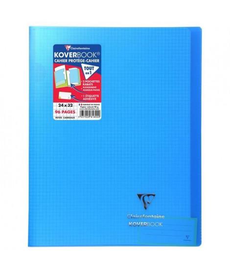 CLAIREFONTAINE Koverbook Cahier piqure 96 pages avec rabats - 240 x 320 mm - 5 x 5 papier PEFC 90 g - Bleu
