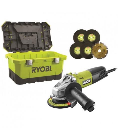 RYOBI Meuleuse d'angle - 125 mm - 800 W - Avec boîte a outils et 6 disques