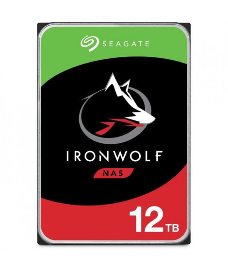 SEAGATE - Disque dur Interne - NAS IronWolf - 12To - 7200trs/mn - 3.5 (ST12000VN0008)