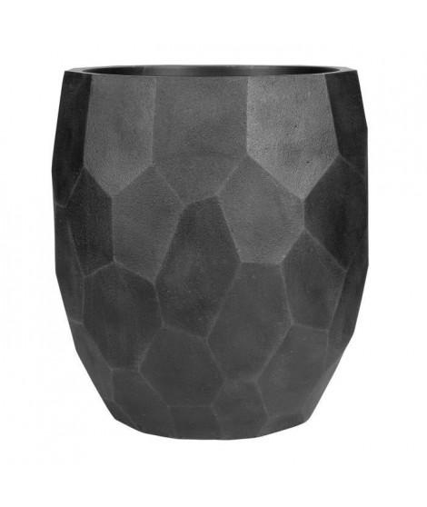 Pot boule a facettes lisse - 50 x 50 x 55 cm - Noir