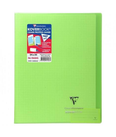 CLAIREFONTAINE Koverbook Cahier piqure 96 pages avec rabats - 240 x 320 mm - 5 x 5 papier PEFC 90 g - Vert