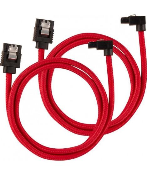 CORSAIR Câble gainé Premium SATA 6Gbps Rouge 60cm 90° - (CC-8900284)