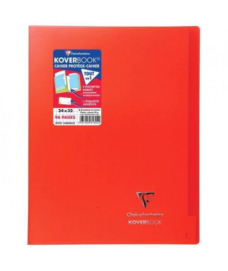 CLAIREFONTAINE Koverbook Cahier piqure 96 pages avec rabats - 240 x 320 mm - 5 x 5 papier PEFC 90 g - Rouge