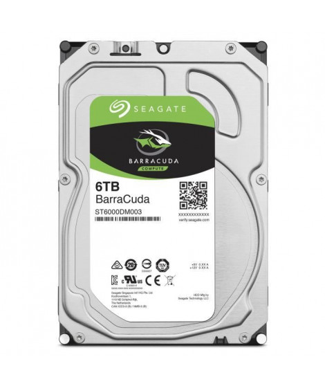 SEAGATE - Disque dur Interne HDD - BarraCuda - 6To - 5 400 tr/min - 3.5 (ST6000DM003)