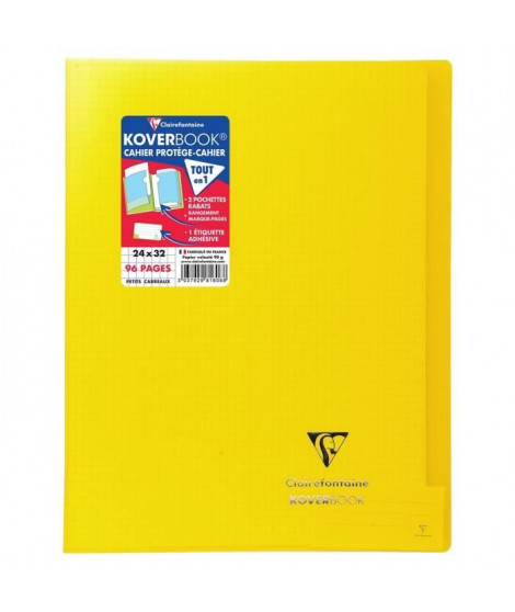 CLAIREFONTAINE Koverbook Cahier piqure 96 pages avec rabats - 240 x 320 mm - 5 x 5 papier PEFC 90 g - Jaune