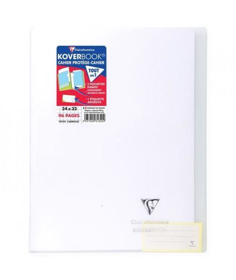 CLAIREFONTAINE Koverbook Cahier piqure 96 pages avec rabats - 240 x 320 mm - 5 x 5 papier PEFC 90 g - Incolore