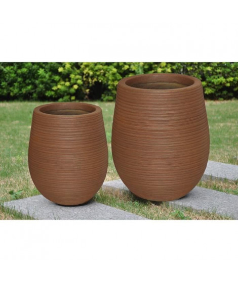 Pot mi-haut arrondi Corde - 45 x 45 x 50 cm - Marron rouille