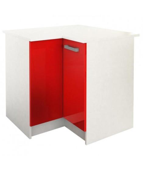 START Meuble de cuisine bas d'angle avec plan de travail L 88 x P 88 cm - Rouge brillant