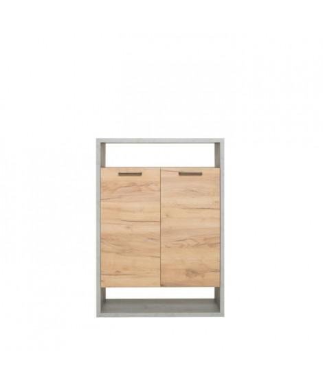MOMO Range-Tout Bibliotheque - Style Urbain Industriel - Décor chene béton - L 76 x P 33 x H 108 cm