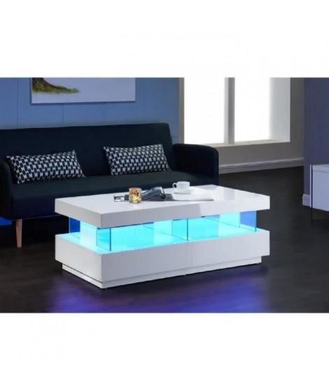 LIGHT Table basse led contemporain laqué blanc brillant 120cm