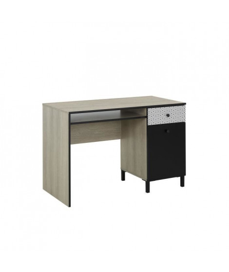 MANILLE Bureau 1 porte 1 tiroir - Décor chene clair et noir - L 110 x P 55 x H 73 cm
