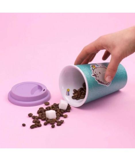 THUMBS UP ! Pusheen - Tasse en céramique avec couvercle en silicone Unicorn Glitter.