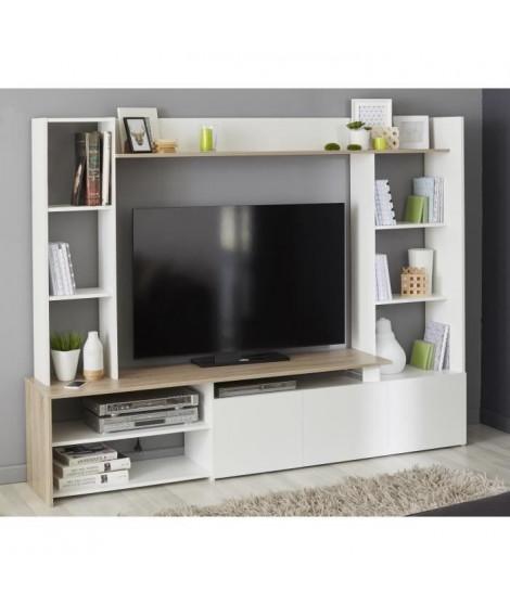 OREGON Meuble TV décor Chene et blanc - L 197cm