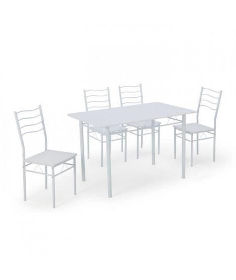 NINA Ensemble table a manger de 4 a 6 personnes + 4 chaises - Contemporain - En métal et MDF blanc laqué - L 120 x l 70 cm