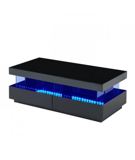 LIGHT Table basse laquée noir brillant avec LED multicolore - L 120 cm
