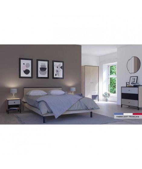 MANILLE Lit 140x190 - Décor chene noisette et noir - L 194 x P 146 x H 80 cm