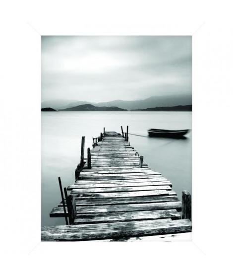 Cadre pour coffre ou étagere Quai Lac - 18 x 24 cm - Blanc et noir