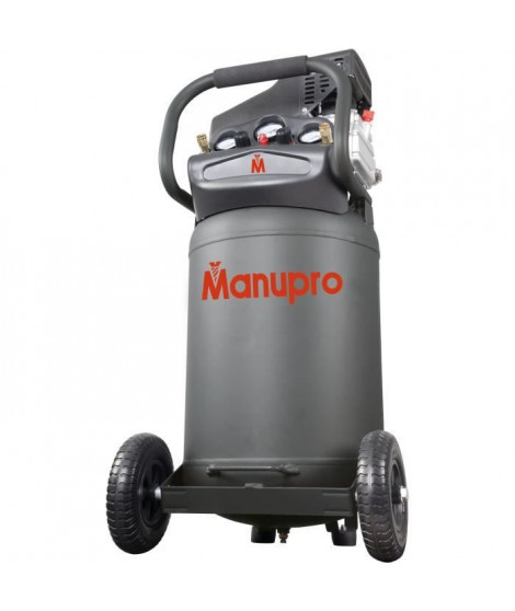MANUPRO Compresseur d'air vertical 80 L - 2,5 CV - 10 bars - Lubrifié - 1800 W