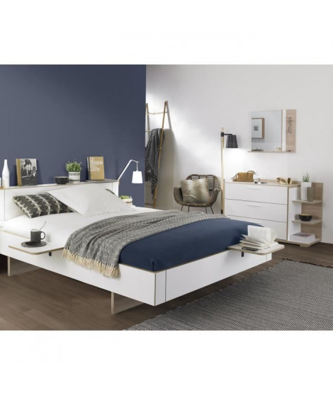ARCANE Ensemble chambre Lit adulte 160x200 + 2 chevets + commode + miroir - Décor blanc et dedre - Made in France