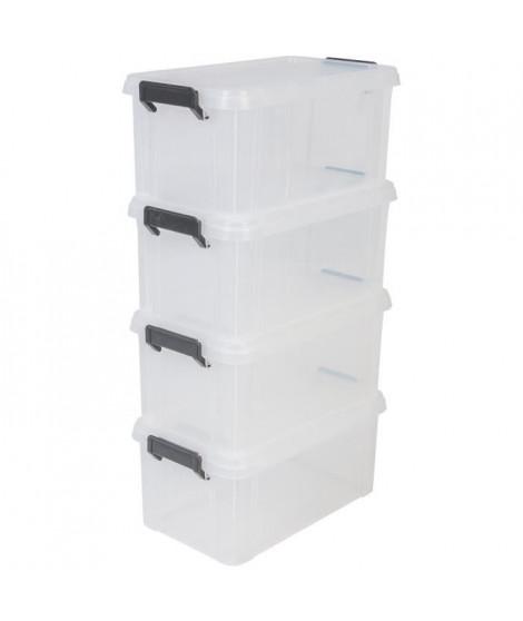 IRIS OHYAMA Lot de 4 boîtes de rangement Multi Box MBX-6 - Plastique - 6 L - 36,5 x 21,4 x 16,5 cm - Transparent et Noir