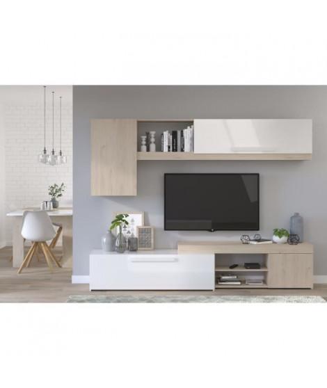 BACKSTAGE Meuble TV - Décor Chene Jackson et blanc brillant - L 250cm