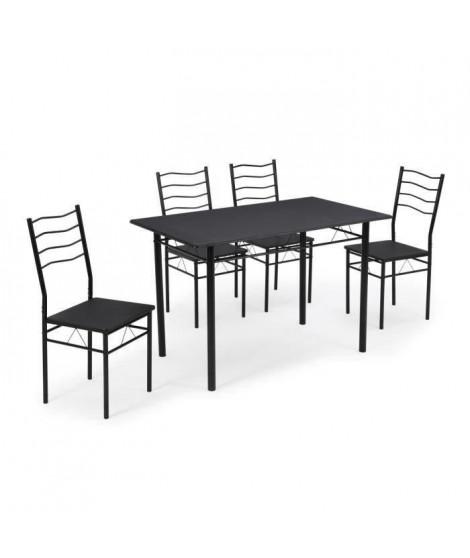 NINA Ensemble table a manger de 4 a 6 personnes + 4 chaises - Contemporain - En métal et MDF noir laqué - L 120 x l 70 cm