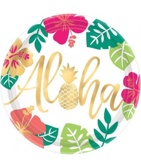 AMSCAN Lot de 8 Assiettes Aloha 26,6 cm