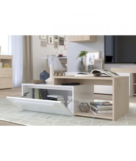 BACKSTAGE Table basse - Décor chene jackson et blanc brillant -  L 110 x P 40 x H 51 cm