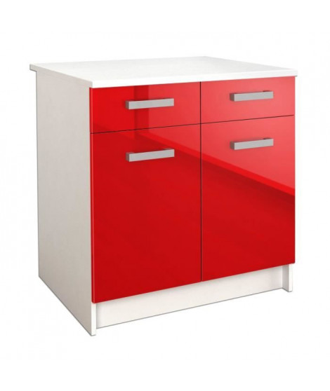START Meuble bas de cuisine L 80 cm avec plan de travail inclus - Rouge Brillant