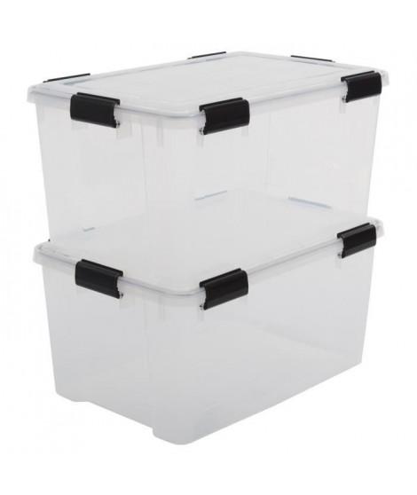 IRIS OHYAMA Lot de 2 boîtes de rangement hermétiques Air Tight Box AT-L - Plastique - 50 L - 59 x 39 x 29 cm - Transparent et…